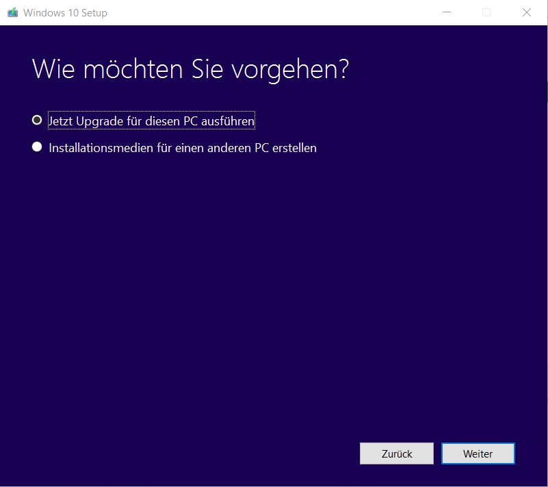 Windows 10 Upgrade oder Installationsmedium