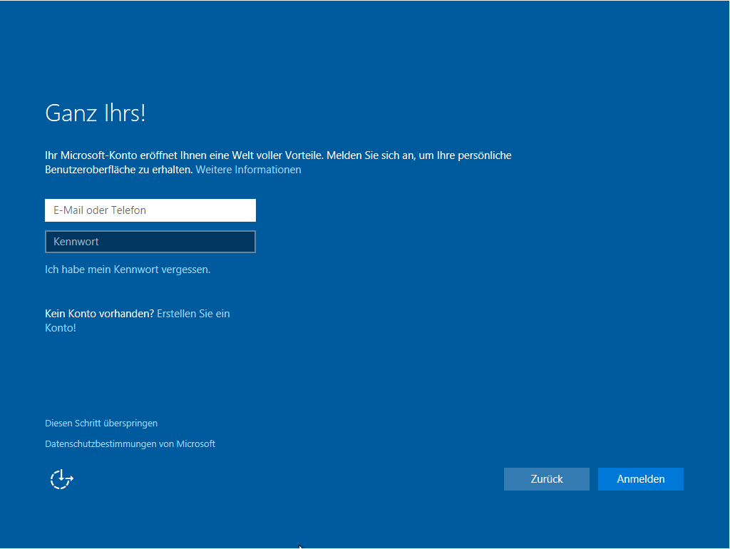Windows 10 Neuinstallation - Microsoft Account