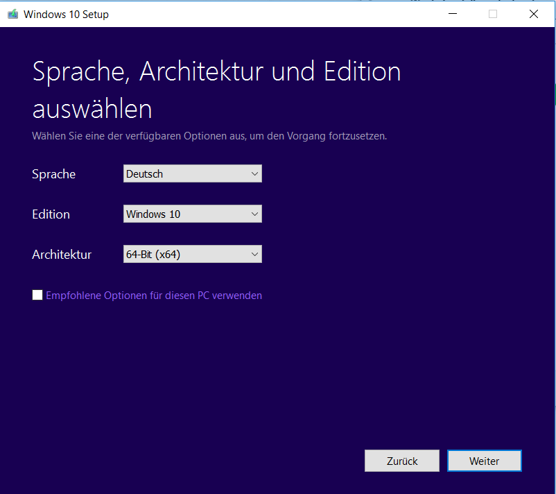 Windows 10 Bit-Version auswählen