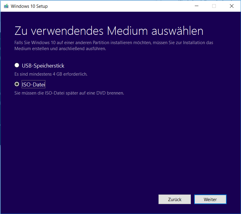 Windows 10 Neuinstallation - Medium auswählen