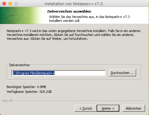 Notepad++ für MacOS Installer